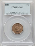 Indian Cents: , 1859 1C MS62 PCGS. PCGS Population: (312/1663). NGC Census: (269/998). CDN: $350 Whsle. Bid for NGC/PCGS MS62. Mintage 36,4...