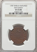 Colonials, 1787 NJERSY New Jersey Copper, Outlined Shield VF35 NGC. NGC Census: (8/24). PCGS Population: (34/126). ...