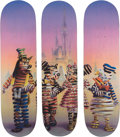 Collectible, Super A (20th century). The Syndicate, triptych, 2019. Screenprints in colors on skate decks. 32 x 8 inches (81.3 x 20.3... (Total: 3 Items)