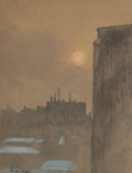 Works on Paper, Luigi Loir (French, 1845-1916). Cityscape. Mixed media on paper. 5 x 3-3/4 inches (12.7 x 9.5 cm). Signed lower left: ...