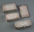 Silver & Vertu, A Group of Four British Silver Cases, mid-late 19th century. Marks: (various). 1 x 3-1/2 x 1-5/8 inches (2.5 x 8.9 x 4.1 cm)... (Total: 4 Items)