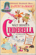 "Movie Posters:Animation, Cinderella (Buena Vista, R-1973). Folded, Fine-. One Sheet (27"" X 41""). Animation.. ..."