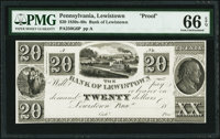 Lewistown, PA- Bank of Lewistown $20 18__ as G6 as Hoober 192-5 Proof PMG Gem Uncirculated 66 EPQ