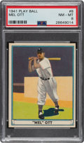 Baseball Cards:Singles (1940-1949), 1941 Play Ball Mel Ott #8 PSA NM-MT 8 - Only Four Higher. ...
