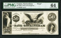 Obsoletes By State:Virginia, Harrisonburg, VA- Bank of Rockingham $50 18__ G8 J-L as BH15-25 PMG Choice Uncirculated 64.. ...