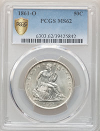 1861-O 50C Bisected Date, WB-103, Die Pair 13, R.2, MS62 PCGS....(PCGS# 572147)