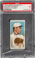 Baseball Cards:Singles (Pre-1930), 1909-11 T206 American Beauty 350-No Frame Walter Johnson (Hands at Chest) PSA EX 5 - Pop Two, None Higher For Brand. ...