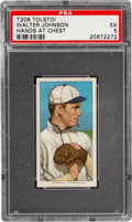 Baseball Cards:Singles (Pre-1930), 1909-11 T206 Tolstoi Walter Johnson (Hands at Chest) PSA EX 5 - Pop One, One Higher For Brand. ...