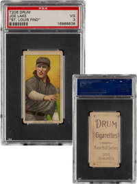 1909-11 T206 Drum Joe Lake (St. Louis-No Ball) PSA VG 3 – The Only Confirmed Drum Back!