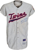 Baseball Collectibles:Uniforms, 1965 Harmon Killebrew Signed Game Worn & Signed Minnesota Twins Jersey, MEARS A7....