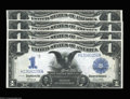 Large Size:Silver Certificates, Fr. 235 $1 1899 Silver Certificate Cut Sheet of Four Very ... (4 notes)