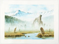 Original Comic Art:Paintings, Rob Alexander - Mountain Range with Cemetery Preliminary Illustration Original Art (2002)....