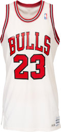 Basketball Collectibles:Uniforms, 1986-87 Michael Jordan Game Worn Chicago Bulls Uniform--Definitively Photo Matched to Five Games Including 56 Points vs. Phila...