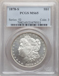 Morgan Dollars: , 1878-S $1 MS65 PCGS. PCGS Population: (4871/923). NGC Census: (4465/528). CDN: $230 Whsle. Bid for NGC/PCGS MS65. Mintage 9...