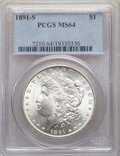 Morgan Dollars: , 1891-S $1 MS64 PCGS. PCGS Population: (2382/683). NGC Census: (1484/250). CDN: $350 Whsle. Bid for NGC/PCGS MS64. Mintage 5...