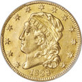 Early Half Eagles, 1828 $5 BD-4, High R.6 -- Repaired -- PCGS Genuine. XF Details....