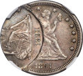 Errors, 1891 25C Seated Quarter -- Double Struck, Second Strike Off Center -- MS62 NGC....