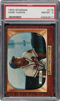 Baseball Cards:Singles (1950-1959), 1955 Bowman Hank Aaron #179 PSA NM-MT 8. ...