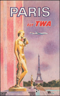 """Paris: Fly TWA (Trans World Airlines, c. 1960s). Rolled, Very Fine-. Travel Poster (25"""" X 39.75"""") David Klein..."""