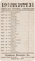 Football Collectibles:Others, 1931 Green Bay Packers Schedule with Lambeau Reference. ...