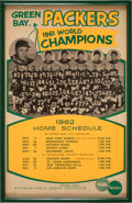 Football Collectibles:Others, 1962 Green Bay Packers Promotional Schedule Broadside....