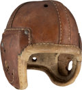 Football Collectibles:Helmets, 1930's Mel Hein (Attributed) Game Worn Helmet - Once Displayed at New York Giants Facility....