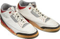 Basketball Collectibles:Others, 1988 Michael Jordan Eastern Conference Semifinals Game Worn & Signed Air Jordan III Sneakers....
