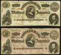 Confederate Notes:1863 Issues, T56 $100 1863 PF-2 Cr. 404 Fine-Very Fine;. T65 $100 1864 PF-1 Cr. 490 Very Fine.. ... (Total: 2 notes)