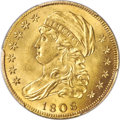 Early Half Eagles, 1808/7 $5 Close Date, BD-2, High R.4, MS64+ PCGS....
