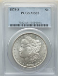 Morgan Dollars: , 1878-S $1 MS65 PCGS. PCGS Population: (4878/920). NGC Census: (4465/528). CDN: $230 Whsle. Bid for NGC/PCGS MS65. Mintage 9...