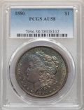 Morgan Dollars, 1880 $1 AU58 PCGS. This lot will also include a: 2003 $1 Silver Eagle MS67 PCGS.... (Total: 2 coins)