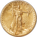 High Relief Double Eagles, 1907 $20 High Relief, Flat Rim -- Cleaned -- PCGS Genuine. AU Details....