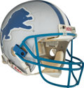 Football Collectibles:Helmets, 1998 Barry Sanders Final Career Game Worn Detroit Lions Helmet--Photo Matched!...