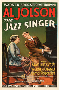 "The Jazz Singer (Warner Bros., 1927). Good/Very Good on Linen. One Sheet (27"" X 41"") Style A"
