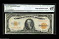 Large Size:Gold Certificates, Fr. 1173 $10 1922 Gold Certificate CGA Gem Uncirculated 67.