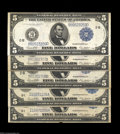 Large Size:Group Lots, Five Five Dollar Federal Reserve Notes. All five notes are ... (5 notes)