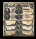 Large Size:Group Lots, Five Type Notes. Two are Fr. 91, and the other three are ...