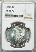 Morgan Dollars: , 1891-S $1 MS63 Prooflike NGC. NGC Census: (112/131). PCGS Population: (186/181). CDN: $220 Whsle. Bid for NGC/PCGS MS63. Mi...