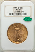 Saint-Gaudens Double Eagles: , 1911-D $20 MS65 NGC. CAC. NGC Census: (2185/593). PCGS Population: (2436/616). CDN: $2,100 Whsle. Bid for NGC/PCGS MS65. Mi...