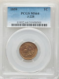 Patterns, 1859 P1C Indian Cent, Judd-228, Pollock-272, R.1, MS64 PCGS....