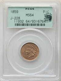 1859 P1C Indian Cent, Judd-228, Pollock-272, R.1, MS64 PCGS. Eagle Eye Photo Seal. PCGS Population: (127/88). NGC Census...