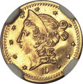 California Fractional Gold , 1853 50C Liberty Round 50 Cents, BG-420, Low R.7, MS64 NGC....