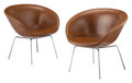 Furniture, Arne Jacobsen (Danish, 1902-1971). Pair of Pot Chairs, designed 1959, produced circa 1965, Fritz Hansen . Steel, leather... (Total: 2 Items)