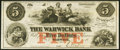 Obsoletes By State:Rhode Island, Warwick, RI- Warwick Bank $5 18__ Remainder About Uncirculated.. ...