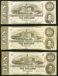 Confederate Notes:1863 Issues, T59 $10 1863 Three Examples Very Fine or Better.. ... (Total: 3 notes)