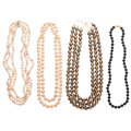 Estate Jewelry:Necklaces, Dyed Cultured Pearl, Gold, Silver Necklaces . ... (Total: 4 Items)