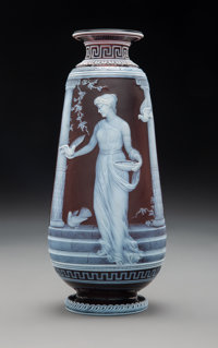 George Woodall for Thomas Webb & Sons Cameo Glass Vase: At the Portal, circa 1890 Signed: