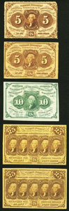 Fractional Currency:First Issue, Fr. 1229 5¢ First Issue Fine-Very Fine;. Fr. 1230 5¢ First Issue Very Fine;. Fr. 1242 10¢ First Issue Extremely Fine;... (Total: 5 notes)
