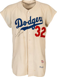 1956 Sandy Koufax Game Worn & Signed Brooklyn Dodgers Jersey, MEARS A9