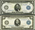 Large Size:Federal Reserve Notes, Fr. 858 $5 1914 Federal Reserve Note Very Fine+;. Fr. 987a $20 1914 Federal Reserve Note Very Fine+.. ... (Total: 2 notes)